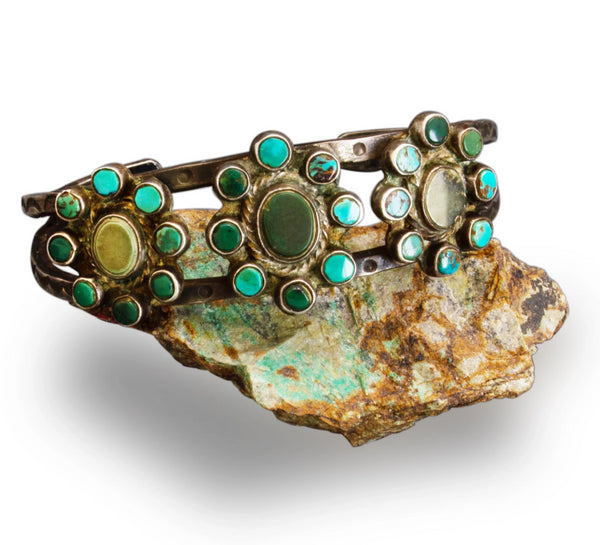 1920's Navajo or Pueblo Cluster Bracelet of Natural Turquoise