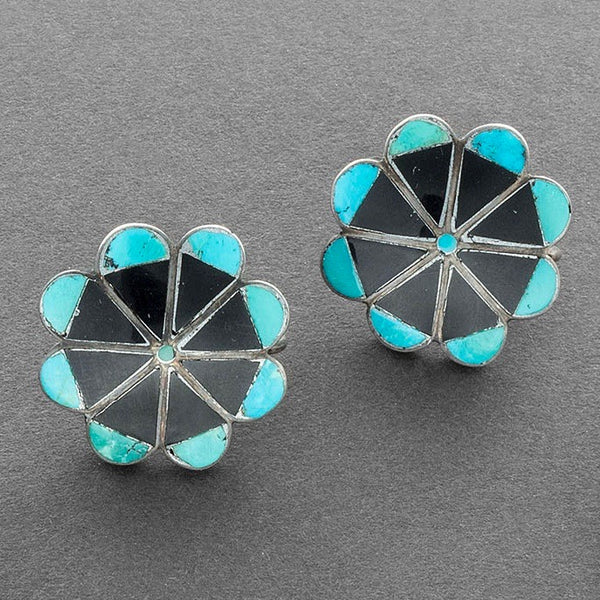 Zuni Earrings of Turquoise and Jet Inlay From C.G. Wallace Catalog