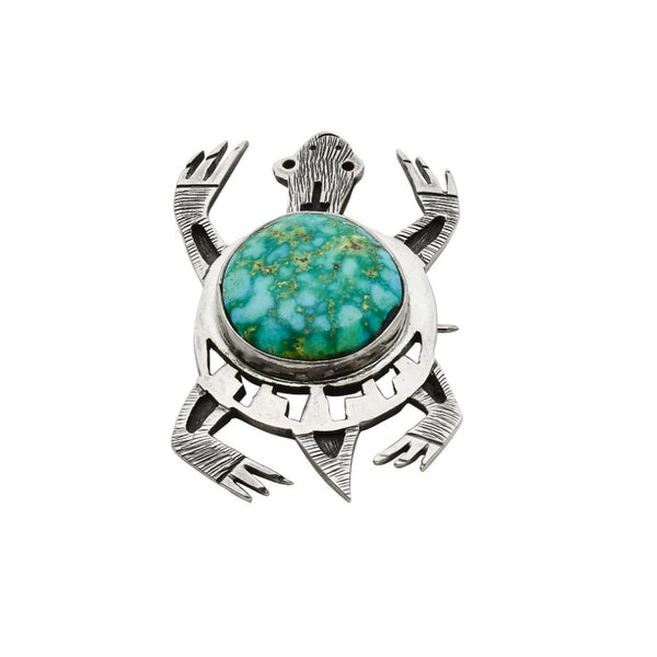 Hopi Pin Pendant of a Turquoise Turtle