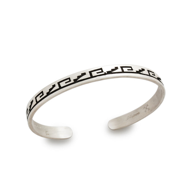 Narrow Sterling Silver Overlay Hopi Bracelet By Joe Josytewa
