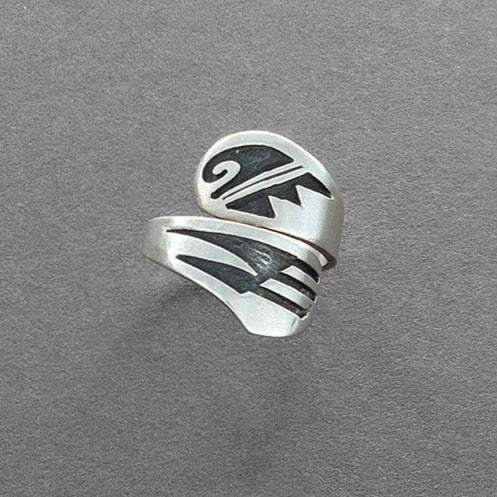 Vintage Hopi Guild Silver Overlay Ring With Bird Wing Design