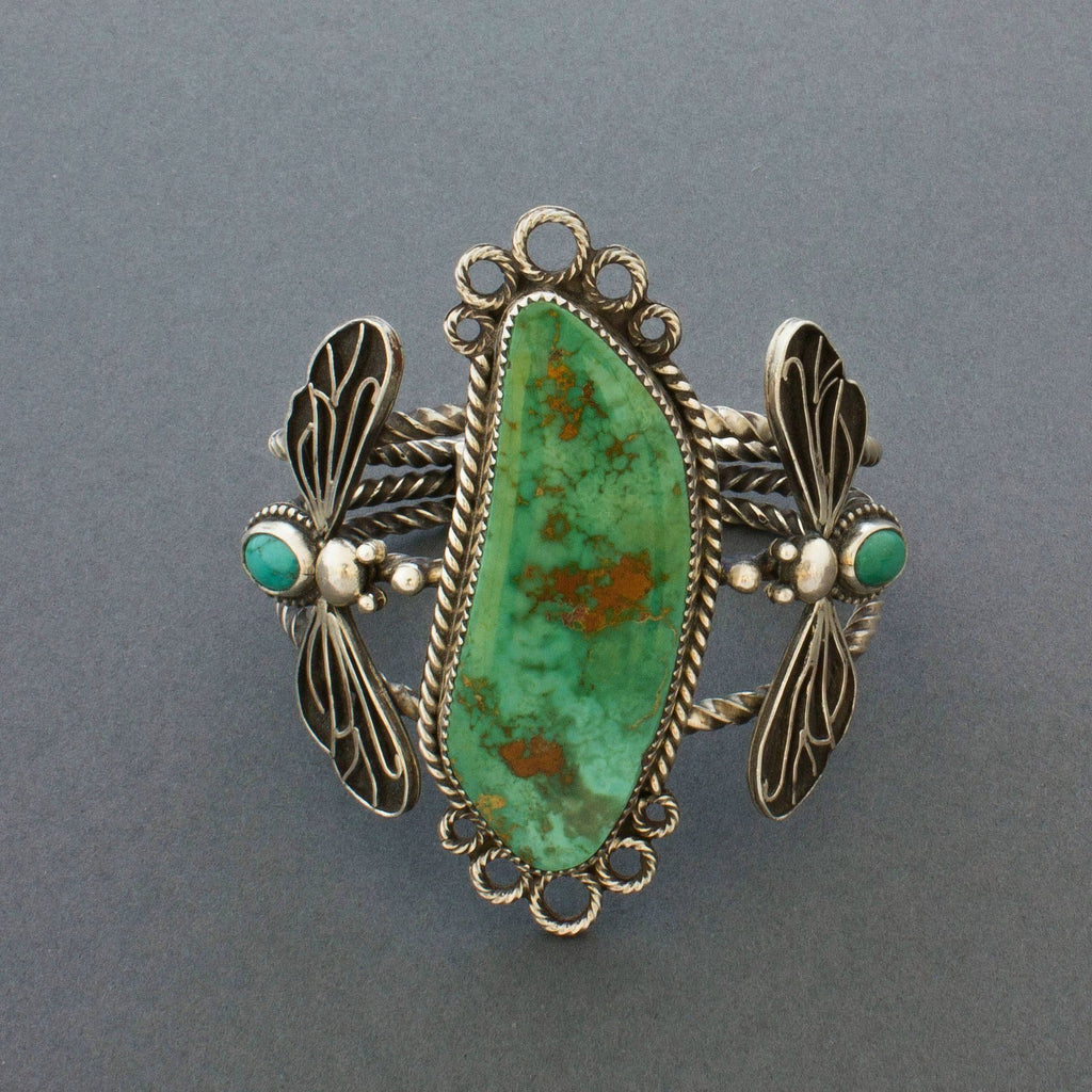 Liz Wallace Bracelet of Royston Turquoise with Flying Bugs Front