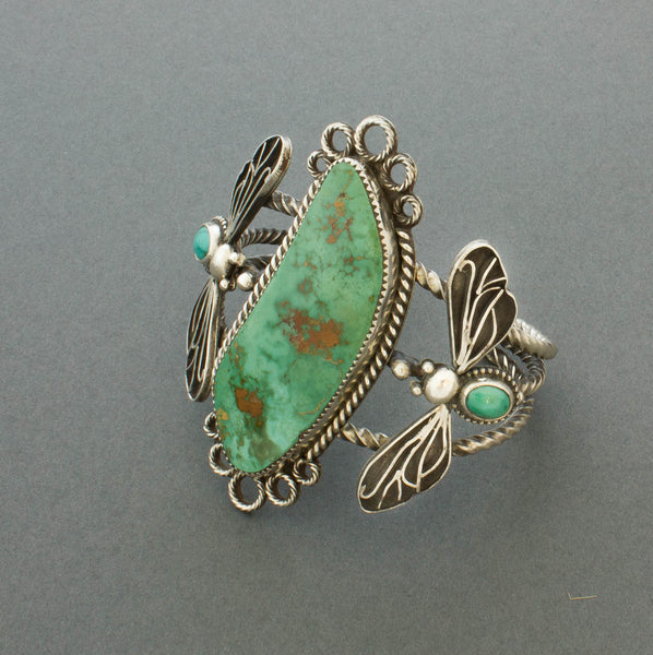 Liz Wallace Bracelet of Royston Turquoise with Flying Bugs