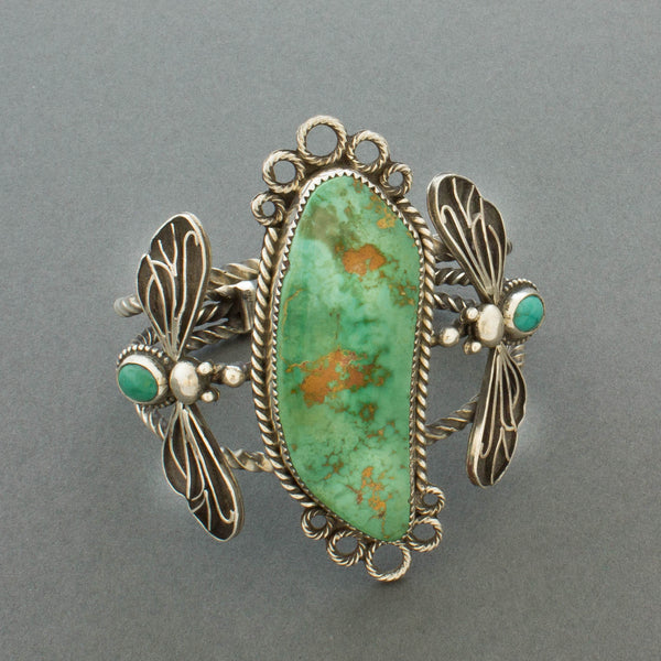 Liz Wallace Bracelet of Royston Turquoise with Flying Bugs Side