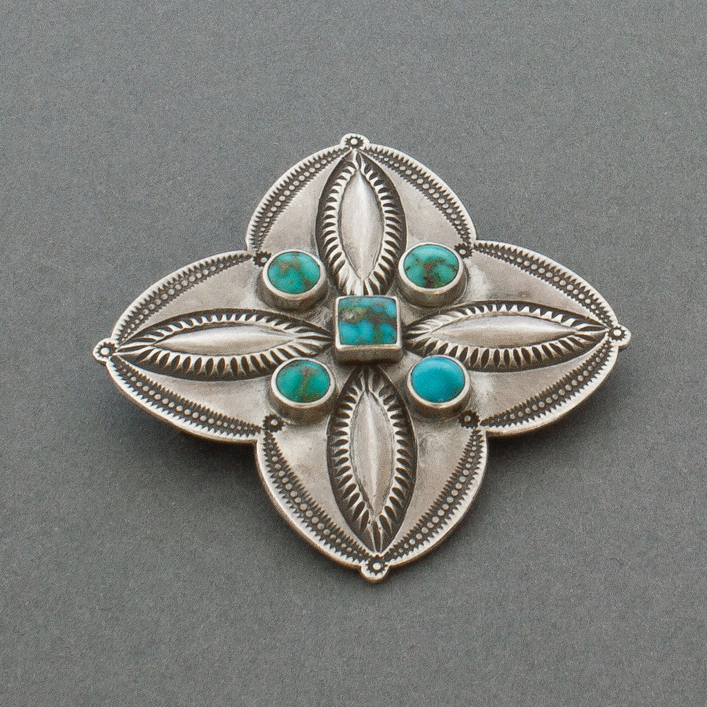 Perry Shorty Silver Repousse Cross Pin with Turquoise