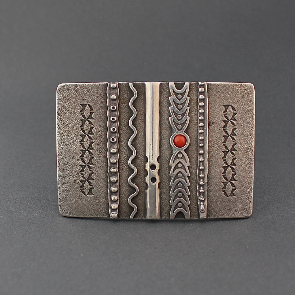 Early Norbert Peshlakai Silver Buckle With Coral