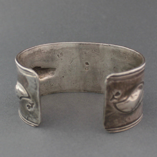 Silver Bracelet with Natural Turquoise and Horse Stamp by Greg Lewis & Dyaami Lewis Reverse