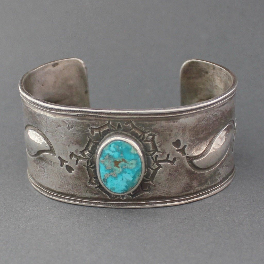 Silver Bracelet with Natural Turquoise and Horse Stamp by Greg Lewis & Dyaami Lewis