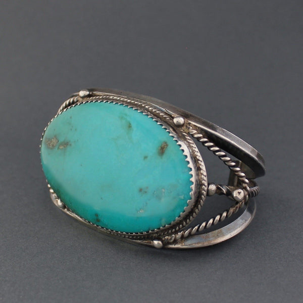 Vintage Navajo Bracelet With Elongated Turquoise Stone Side