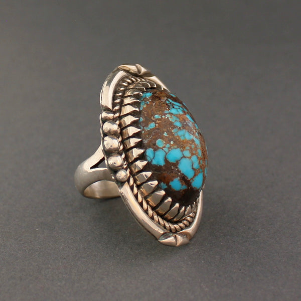 Large Navajo Ring of Turquoise and Silver By Bob Robbins Side Dome