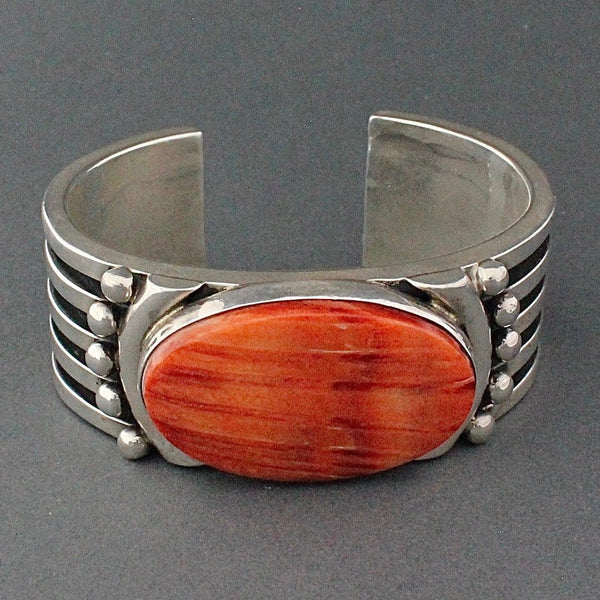 Heavy Silver Bracelet With Spiny Oyster By Albert Lee
