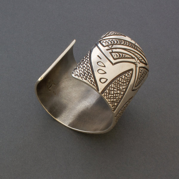 Wide Silver Cuff Bracelet Set With Quartz by Jared Chavez