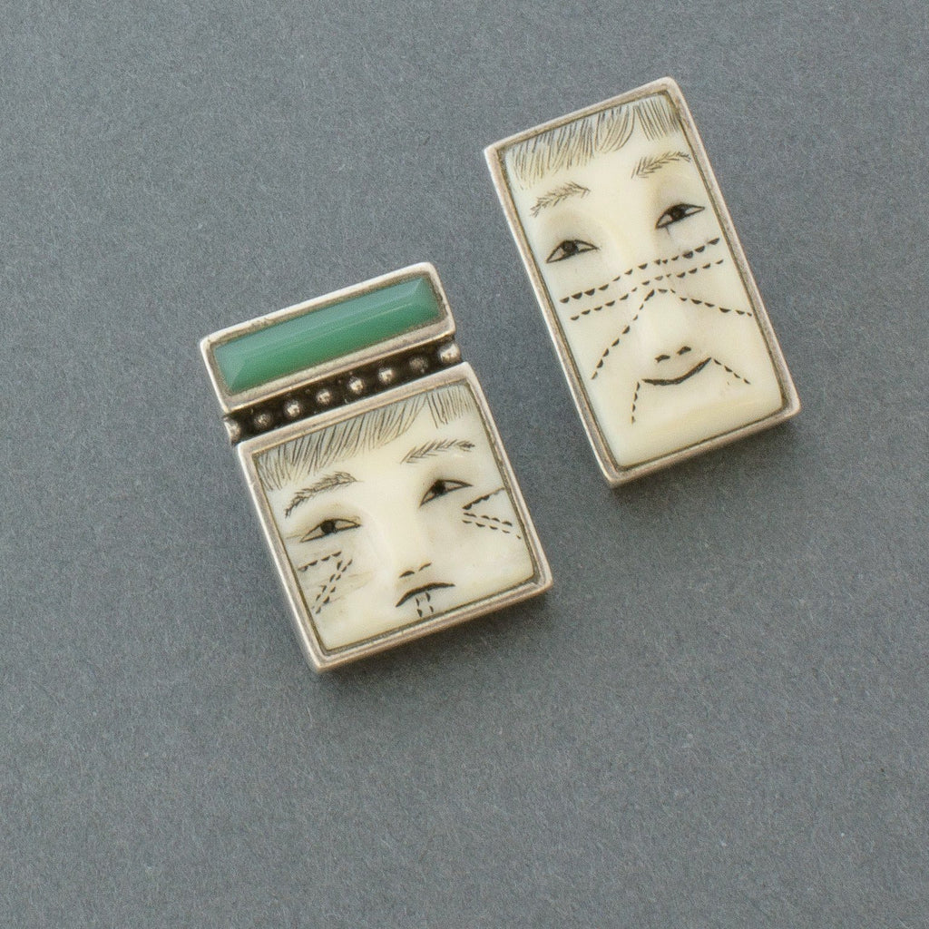 Denise Wallace Earrings of Male and Female Faces