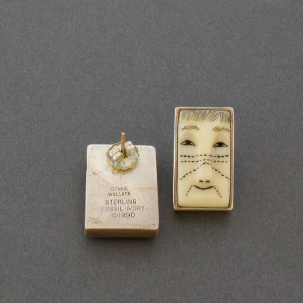 Denise Wallace Earrings of Male and Female Faces Hallmark