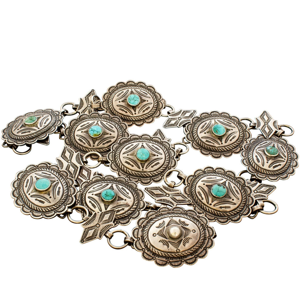 Rare Old Hopi Morris Robinson Concho Belt of Silver With Turquoise
