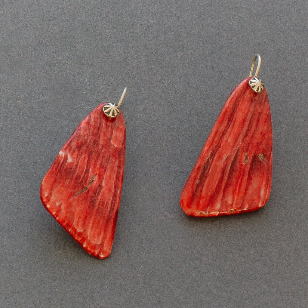 Vintage Red Spondylus Shell Earrings by Harry H. Begay