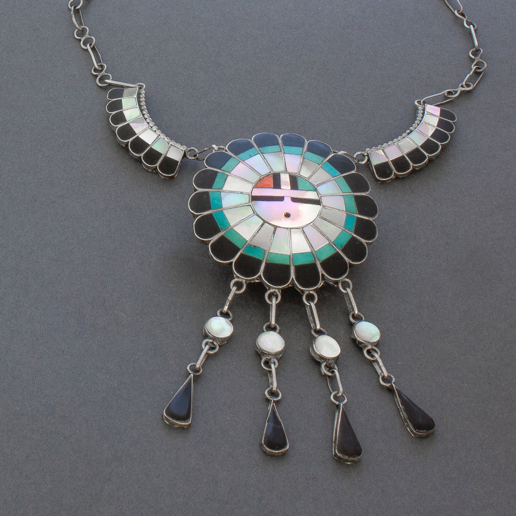 Vintage Zuni Inlay Sun God Dangle Necklace By J.D. Massie