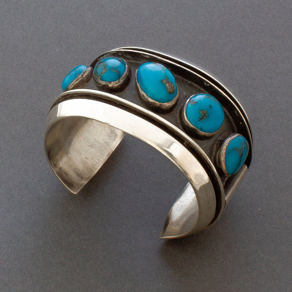 Vintage Navajo Silver and Turquoise Row Bracelet Hollow Form