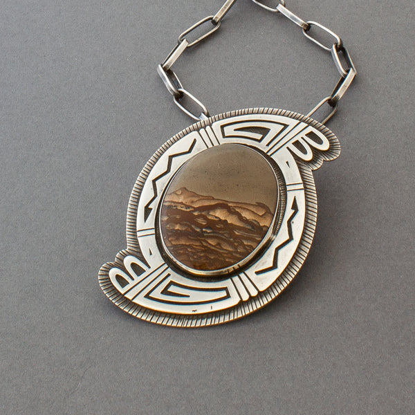 Vintage Hopi Silver Overlay Necklace With Agate Stone By Victor Coochwytewa
