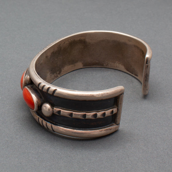 Vintage Silver and Coral Navajo Row Bracelet Reverse