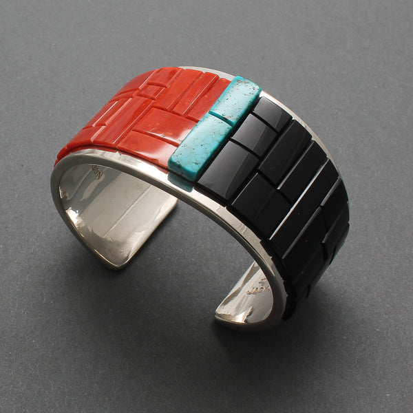 Tommy Jackson Bracelet of Turquoise, Coral & Jet Inlay