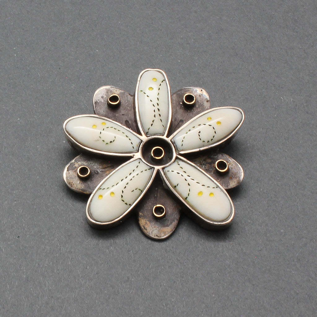 Early Dawn Wallace Pin Pendant of Fossilized Ivory Flower
