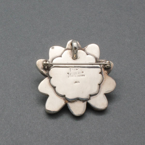 Early Dawn Wallace Pin Pendant of Fossilized Ivory Flower Hallmark