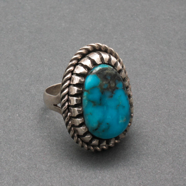 Bob Robbins Ring of Silver and Natural Turquoise With Saw Tooth Bezel