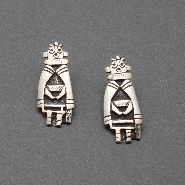 Vintage Silver Hopi Mudhead Earrings Posts