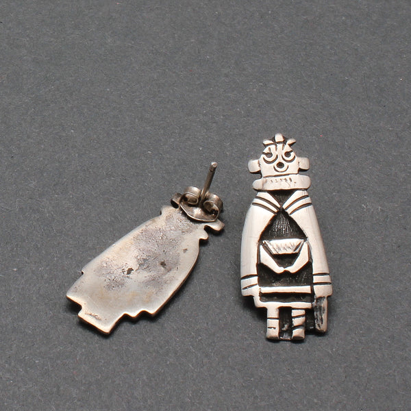Vintage Silver Hopi Mudhead Earrings Pierced Ears
