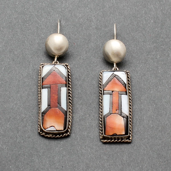 Rare Zuni Inlay Dangle Arrow Earrings Set in Silver Circa 1940's