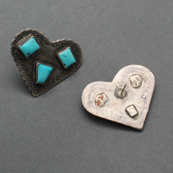 Old Navajo Heart Earrings of Silver and Turquoise Reverse