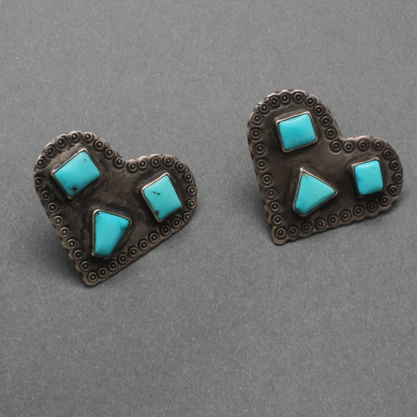 Old Navajo Heart Earrings of Silver and Turquoise
