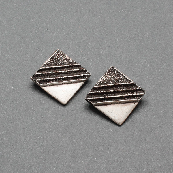 Vintage Sedelio Lovato Silver Square Modernist Tufa Cast Earrings