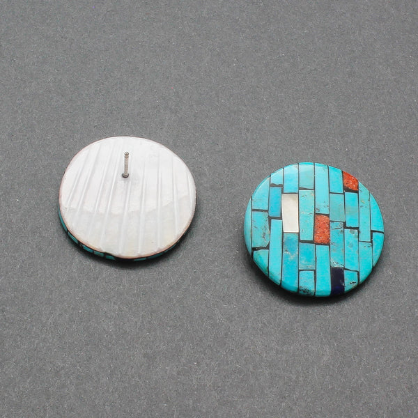 Turquoise Mosaic Inlay Earrings by Santo Domingo Pueblo Reano Family