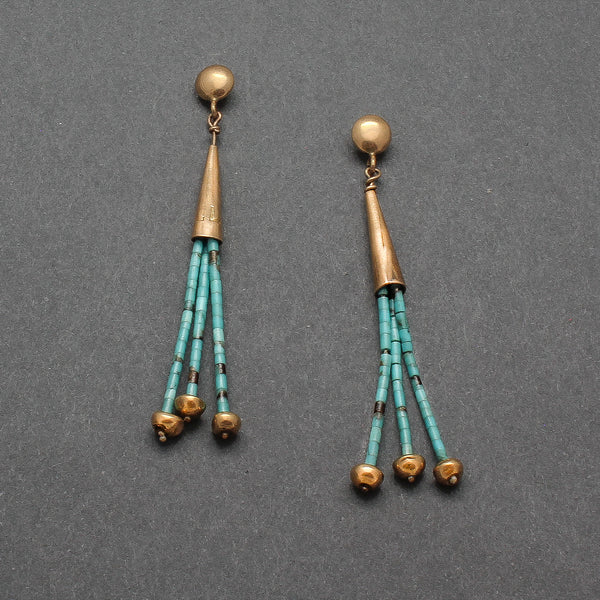 Charles Lovato Dangle Earrings of Turquoise Heishi and Gold