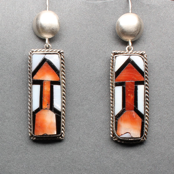 Zuni Inlay Dangle Arrow Earrings Set in Silver Circa 1940's