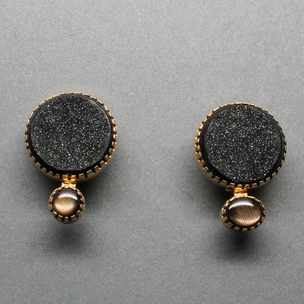 Earrings of 18kt Gold And Druzy Quartz By Gail Bird and Yazzie Johnson Black Star Sapphires