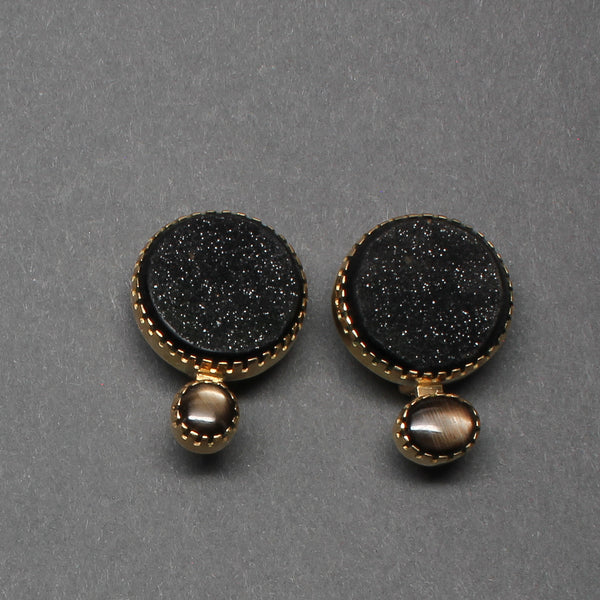 Earrings of 18kt Gold And Druzy Quartz By Gail Bird and Yazzie Johnson