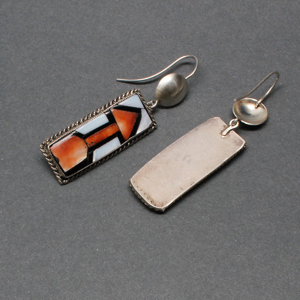 Zuni Inlay Dangle Arrow Earrings Set in Silver Circa 1940's Reverse