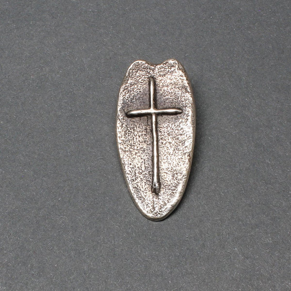 Silver Tufa Cast Cross Pendant by Ira Custer