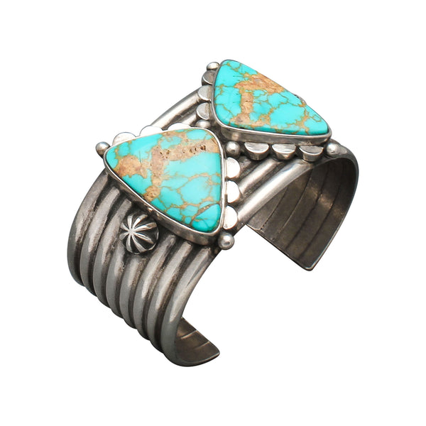 Mike Bird Romero Wide Silver Cuff of Natural Turquoise Butterfly