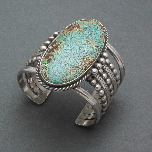 Large Cuff Bracelet By Mike Bird Romero Set With Turquoise