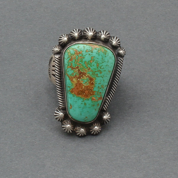 Heavy Navajo Ring of Silver and Natural Green Turquoise By Harry H. Begay