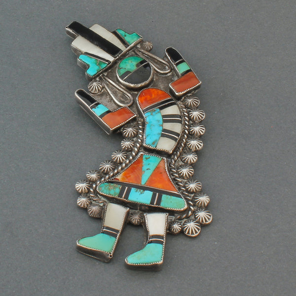 Large Zuni Rainbow Man Pin of Inlay Circa 1945
