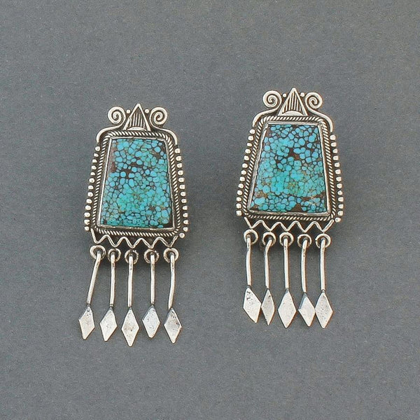 Perry Shorty Dangle Earrings of Natural Lone Mountain Turquoise