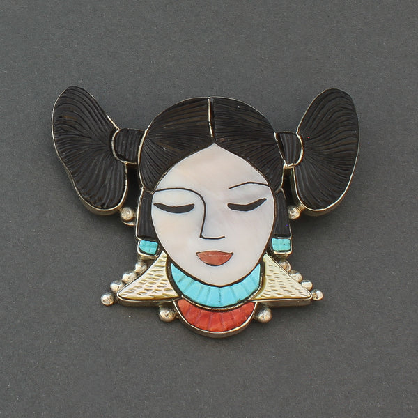 Inlay Hopi Maiden Pin Pendant by Virgil and Shirley Benn