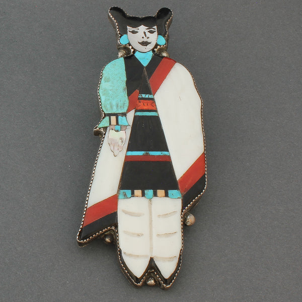Large Vintage Zuni Inlay Pin of a Hopi Maiden