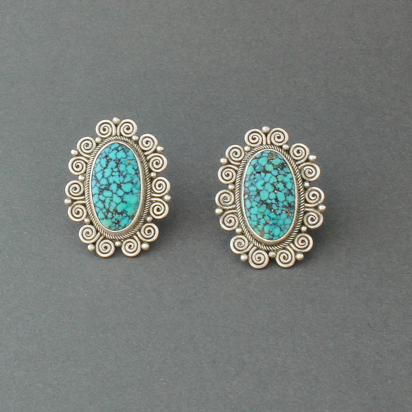 Perry Shorty Earrings of Fine Easter Blue Natural Turquoise