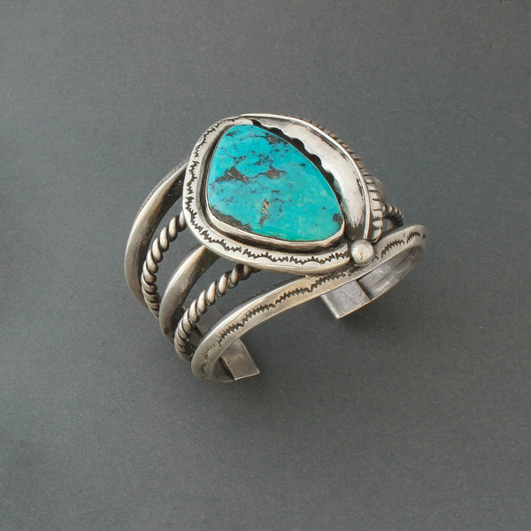 Large Vintage Navajo Bracelet of Heavy Silver and Morenci Turquoise